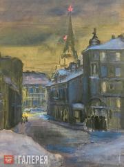 Boris CHERNYSHEV. Volkhonka at Night. 1947-1948