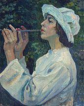 Mikhail NESTEROV. Shepherd Boy (Portrait of Natalia Nesterova). 1922