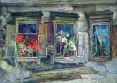 Alexander TYULKIN. Flowers in the Windows. 1955