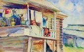 Kasim DEVLETKILDEYEV. Porch of a Bashkir Peasant Hut. 1928