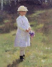 Ilya REPIN. Girl with Flowers. 1878