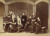 Pavel Tretyakov among the family. Photograph. 1884