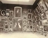Exhibition hall No. 2 with paintings by K.P. Briullov, F. A. Bruni, S. K. Saryanko and others in the Municipal Gallery of the Tretyakov Brothers. Photograph. 1898