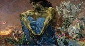 Mikhail VRUBEL. The Demon (seated). 1890