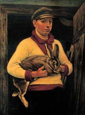 Nikolai ZAGREKOV. Peasant with Prizewinning Rabbit. 1925