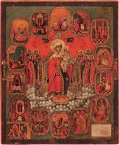 "The Mother of God Enthroned, with the ""Joys"" of the Mother of God. Second half of the 18th century"