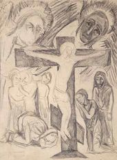 Natalya GONCHAROVA. Crucifixion with Interceding. 1912 (?)