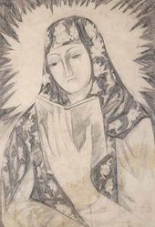 Natalya GONCHAROVA. Young Girl with a Book (Mother of God). Early 1910 (1912?)