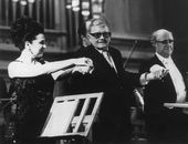 The Grand Hall, Moscow Conservatory, Mstislav Rostropovich and Galina Vishnevskaya with Dmitry Shostakovich at the premier of his 14th Symphony, 1974