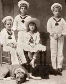 Children of Grand Duke Vladimir Alexandrovich: Andrei, Kirill, Yelena, Boris. Late 1880s