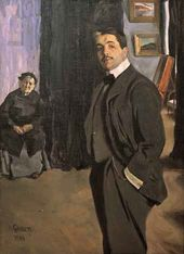 Léon BAKST. Portrait of Sergei Diaghilev with His Nanny. 1906
