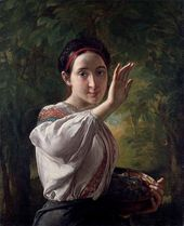 Vasily TROPININ. Lass with Plums. 1848