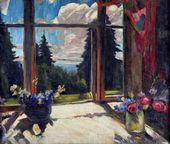 Abram ARKHIPOV. Flowers on Veranda