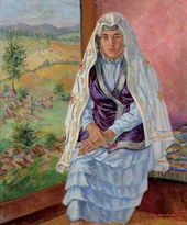 Nikolai RUSAKOV. Markhaba, the Head of a Team Servicing a Complex Harvest-thresher in the Kaganovich Collective Farm (Kolkhoz) 1937
