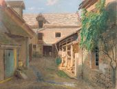 Ivan KRAMSKOY. Courtyard in a Village in France. 1876