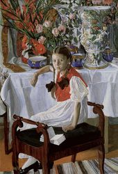 Alexamder GOLOVIN. Girl and Porcelain (Frosya). 1916