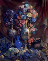 Nikolai SAPUNOV. A Vase, Flowers and Fruit. 1912