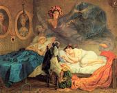 Karl BRIULLOV. Grandma's and Granddaughter's Dream. 1829