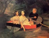 Karl BRIULLOV. Portrait of the Painter and Portrait of the Duchess Moeller-Zakomelskaya with a Girl in a Boat. 1830-е. Unfinished