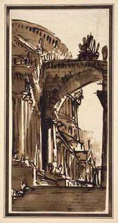 Pietro GONZAGA. Architectural Fantasy. Late 1790s