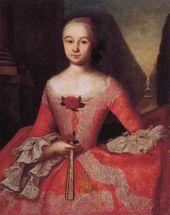 Ivan VISHNYAKOV. Portrait of Xenia Ivanovna Tishinina (1736-1757). 1755