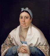 Nikolai MYLNIKOV. Portrait of Praskovia Ivanovna Astapova (1783-1843), Merchant's Wife from Yaroslavl. 1827