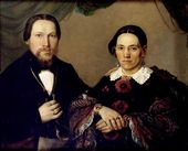 "Unknown artist (monogrammist ""Ya.K.""). Portrait of St. Petersburg Industrialist Andrei Yegorovich Lenivov with His Wife. 1863"