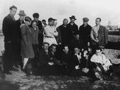 Nikolai Cherhyshev (upper row, third right) with a group of students of VKHUTEMAS. Trip to Kiev. 1928