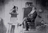 Troubetzkoy works on a statue of Leo Tolstoy in the writer's study in Khamovniki. 1898