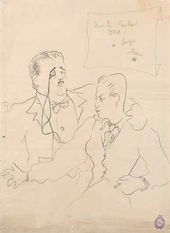 Jean COCTEAU. Portrait of Diaghilev and Lifar. 1928