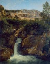 View of the Waterfall near the Monastery of St. Benedict in Subiaco. 1822
