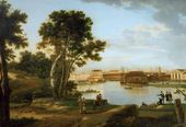 View of the Tuchkov Bridge and Vassilievsky Ostrov from Petrovsky Island in St. Petersburg. 1815