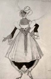 Léon BAKST. Sketch of a costume of Countess Natalya Gorchakova, made for Countess Maria Kleinmichel's ball. 1914