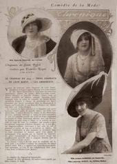 "Sheet from ""Comédie de la Mode"" magazine with an article about hats designed by Bakst. 1913"
