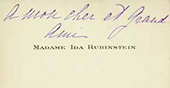 "Ida Rubinstein's visiting card with a note for Bakst: ""To my dear close friend"""