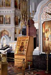 "The icon ""The Virgin Hodegetria"" in the interior of the Cathedral of Christ the Saviour, Moscow"