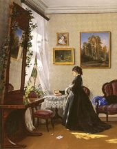 In Front of the Mirror. Reading a Letter. 1870
