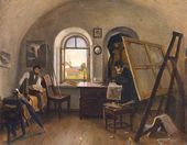 Shishkin and Giné in Their Studio on Valaam. 1860