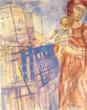 Kuzma PETROV-VODKIN. Woman with Child against a City. 1924