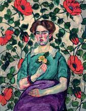 Ilya MASHKOV. A Woman's Portrait (against wall-paper background). 1908