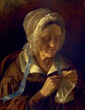 Old Woman Knitting a Stocking. 1838