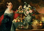 Portrait of an Unknown Girl with Flowers and Fruit. 1838