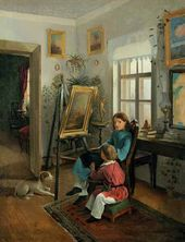 In the Rooms of the Artist's Estate. The Children at the Easel. 1854–1855