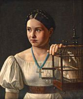 Alexander ZLATOV. Girl with a Cage. Late 1820s