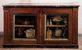Still-lifes by Antoine Vollon. Painted over the doors of a sideboard in the inn in Ganne, Barbizon