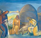 Pavel KUZNETSOV. Working in the Steppe. Sheep Shearing. 1913