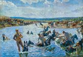 Arkady Plastov. Bathing of the Horses. Sketch. 1937