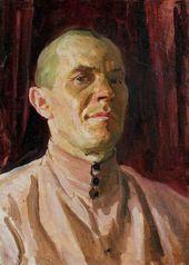 Arkady Plastov. Self-portrait in a Pink Russian Shirt. Mid-1930s
