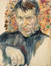 Arkady Plastov. Self-portrait against a Carpet. 1930s