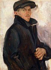 Arkady Plastov. Self-portrait in an Overcoat. 1935–1936